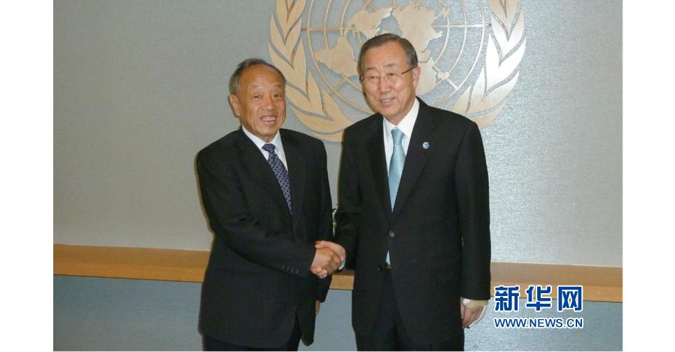和老朋友聯合國秘書長潘基文在聯合國相見