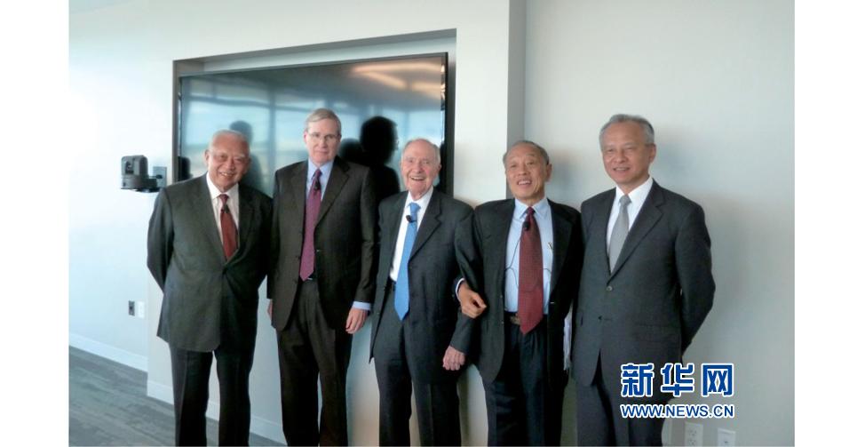 2013年9月訪問美國。從左至右:董建華、哈德利、斯考克羅夫特、李肇星、崔天凱