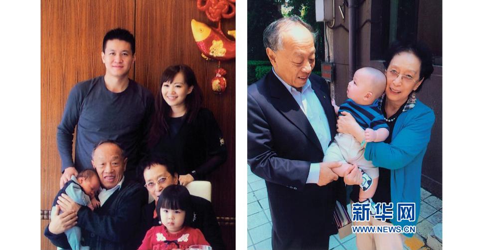 全家福:李肇星和夫人、兒子兒媳、孫子孫女(左圖)