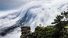 壯觀!廬山現瀑布雲 流轉山澗