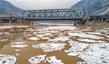 黃河山西河津段出現流淩