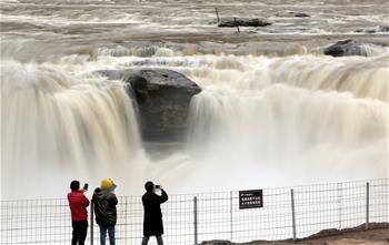 黃河壺口瀑布水量增大