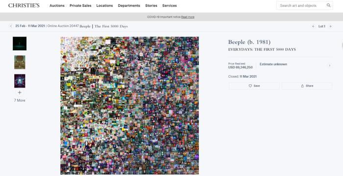 数字世界中的虚拟艺术作品也能拍卖了?!
