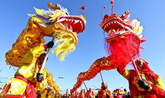 甘肃张掖:排练社火迎春节