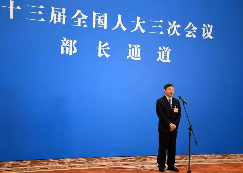 """生態環境部部長黃潤秋在兩會""""部長通道""""接受媒體採訪"""