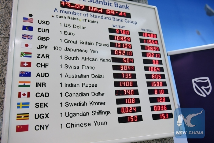Photo Taken On July 13 2016 Shows The Exchange Rate Of Chinese Currency Rmb And Kenyan Shilling At Headquarter Kenya S Cfc Stanbic Bank In Nairobi