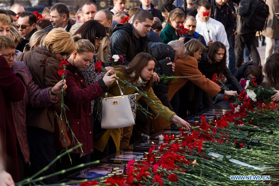 RUSSIA-MOSCOW-ST. PETERSBURG-SUBWAY-EXPLOSION-COMMEMORATION