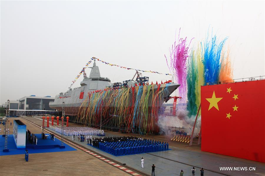 [XINHUA INSIGHT]CHINA-SHANGHAI-NAVY-NEW DESTROYER-LAUNCH (CN)