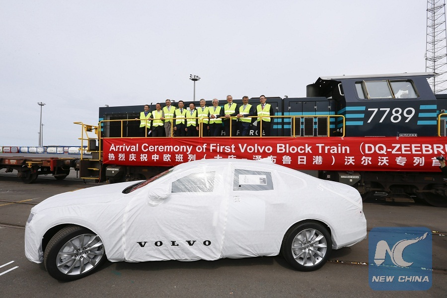 First train ferrying China-made Volvo cars arrives in Belgium ...