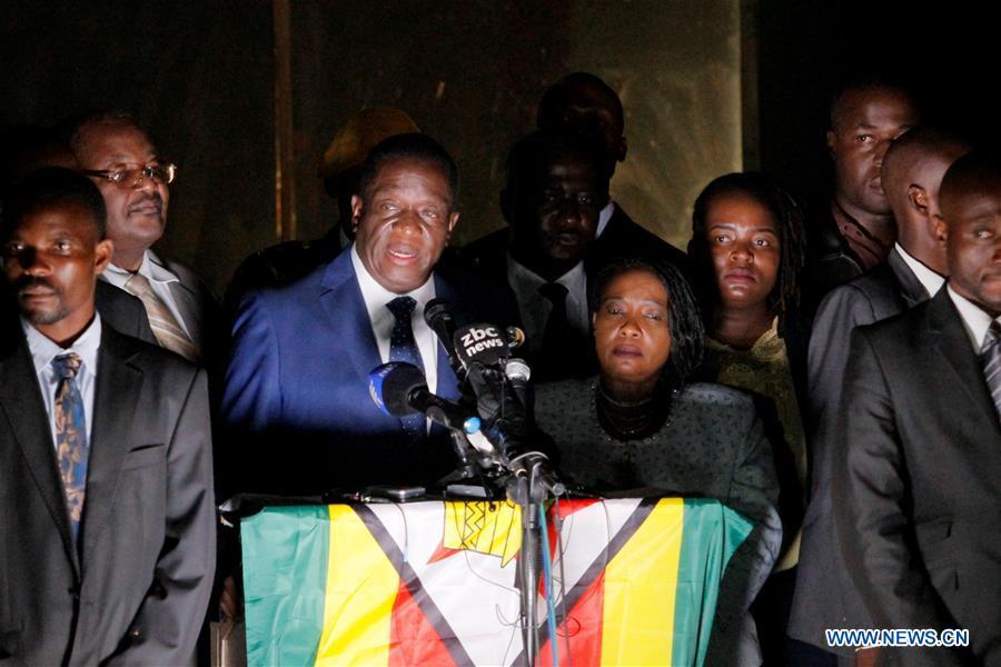 Zimbabwes Incoming President Emmerson Mnangagwa L Center Makes A Public Address At Zanu Pf Headquarters In Harare Capital Of Zimbabwe On Nov