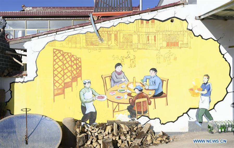 3D painting seen on walls in NW China - Xinhua | English.news.cn