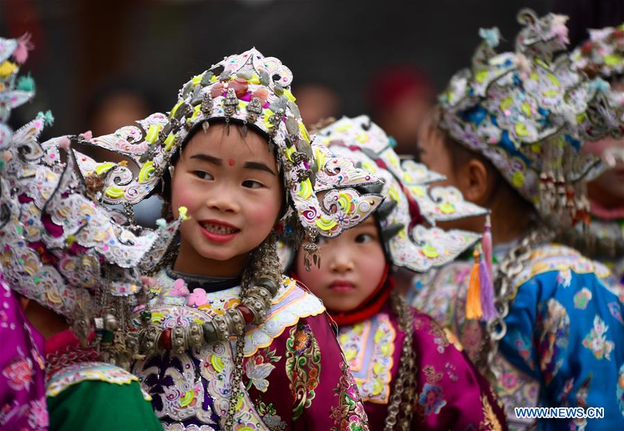 #CHINA-GUIZHOU-DONG ETHNIC GROUP-CHILDREN-HAT(CN)