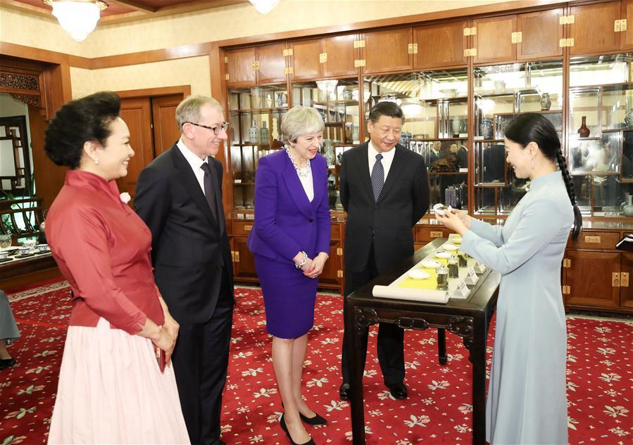 CHINA-BEIJING-XI JINPING-BRITISH PM-AFTERNOON TEA (CN)