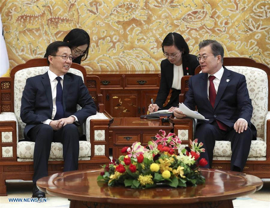 SOUTH KOREA-MOON JAE-IN-CHINA-HAN ZHENG-MEETING