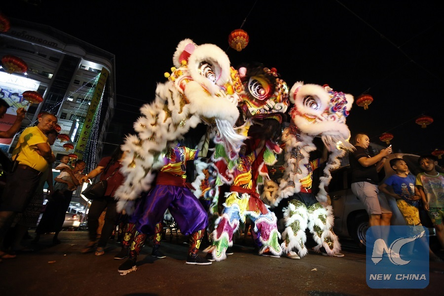 dancers perform lion dance during a celebration for the upcoming chinese lunar new year in the chinatown of yangon myanmar feb 6 2018 xinhuau aung - Chinese New Year 2002