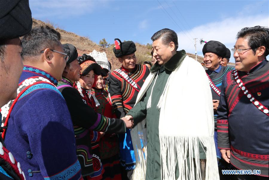 Chinese President Xi Jinping, also general secretary of the Communist Party of China Central Committee, visits the homes of impoverished villagers of the Yi ethnic group who live deep in the Daliang Mountains of Zhaojue County, Sichuan Province in southwest China, Feb. 11, 2018. Xi asked the villagers about their lives and discussed poverty alleviation with local officials and villagers on Sunday. (Xinhua/Ju Peng)ZHAOJUE, Sichuan, Feb. 11 (Xinhua) -- Chinese President Xi Jinping Sunday visited the homes of impoverished villagers of the Yi ethnic group who live deep in the Daliang Mountains of Zhaojue County, Sichuan Province in southwest China.Xi, also general secretary of the Communist Party of China Central Committee, asked the villagers about their lives and discussed poverty alleviation with local officials and villagers.<br/>