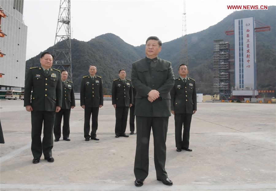 Chinese PresidentXi Jinping(front), also general secretary of the Communist Party of China Central Committee and chairman of the Central Military Commission, visits a satellite launch site at a military base in southwest China's Sichuan Province, Feb. 10, 2018. Xi visited the military base on Saturday ahead of the Spring Festival, which falls on Feb. 16 this year. He extended festival greetings to all officers and soldiers of thePeople's Liberation Armyand the armed police force, and all militia and reserve personnel. (Xinhua/Li Gang)<br/> Chinese President Xi Jinping visited a satellite launch site in southwest China's Sichuan Province Saturday, ahead of the launch of BeiDou-3 satellites.<br/>Two BeiDou-3 satellites were sent into space Monday.<br/>Xi, also general secretary of the Communist Party of China Central Committee and chairman of the Central Military Commission, inspected the preparation work for the launch while visiting the site's command center.<br/>He talked with the scientists and technicians, asking them about their research, work and lives.<br/>They were told to keep pursuing precision and perfection to ensure the success of the launch.<br/>Xi also extended festival greetings to all officers and soldiers of the People's Liberation Army and the armed police force, and all militia and reserve personnel.<br/>The Spring Festival, or Chinese Lunar New Year, falls on Feb. 16 this year.<br/>Through video telephone, Xi talked with grassroots soldiers stationed at an island in the Xisha area and asked them what they had prepared to celebrate the upcoming Spring Festival.<br/>Xi also met with the base's senior officers and asked them to work with more commitment and be steadfast in building China's strength in aerospace to create more &quot;Chinese miracles.&quot;<br/>He stressed military training under combat conditions to build the country's military into a world-class one and improve the country's strength in aerospace.<br/>Noting that technology was a core combat capability, Xi called for intensified work to make breakthroughs in core and key technologies so that China could take the initiative in international competition.<br/>He also emphasized the political loyalty of the armed forces.<br/>Comprehensive and strict guidance and management of the armed forces should be conducted to ensure the absolute loyalty, purity and reliability of the forces, he said.<br/>