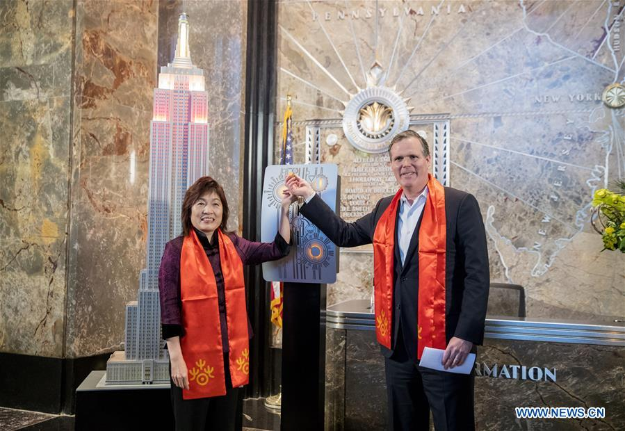U.S.-NEW YORK-EMPIRE STATE BUILDING-CHINA-SPRING FESTIVAL-LIGHTING