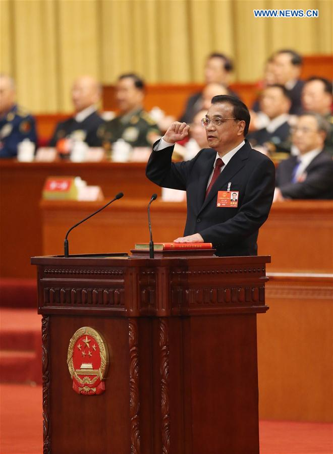 (TWO SESSIONS)CHINA-BEIJING-LI KEQIANG-CONSTITUTION-OATH (CN)