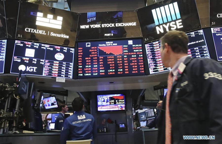 U S  stocks close lower amid trade concerns, tech rout - Xinhua