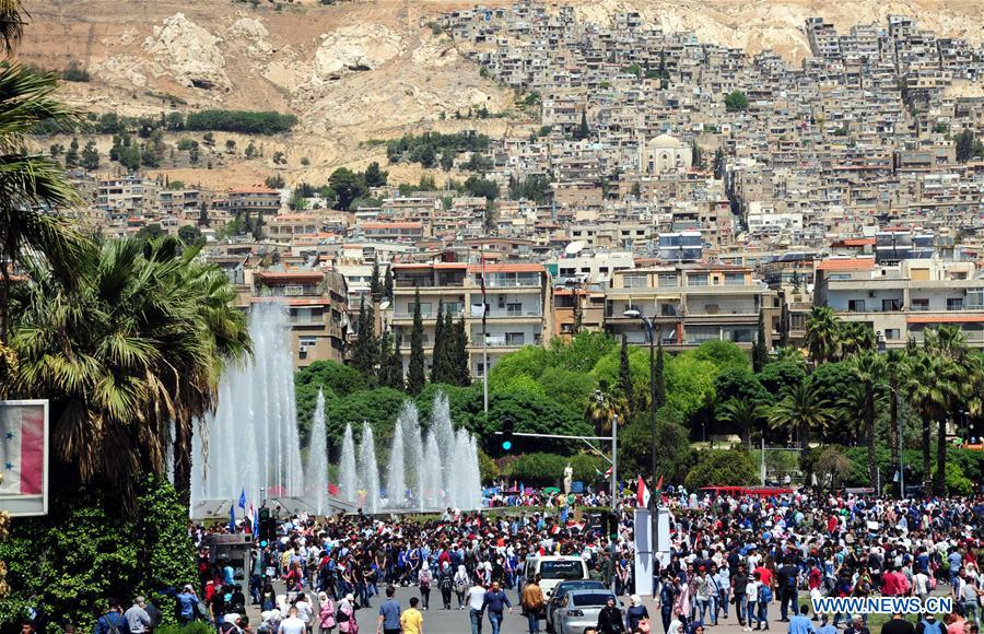 Pro Government Rally Held In Damascus Syria Xinhua English News Cn