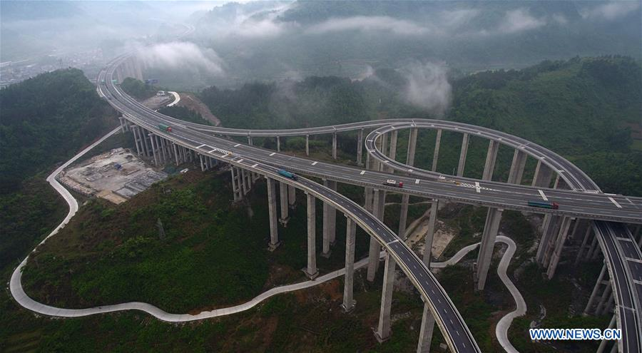 Aerial view of expressway, highway in central China's Hunan