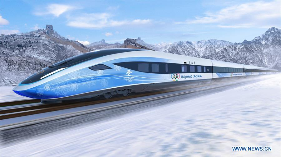 Photo shows design rendering of a future Olympic bullet train released by the China Academy of Railway Sciences Co., Ltd in Beijing, capital of China, April 23, 2018. China will complete the testing of high-speed trains that will run on a new line linking Beijing and Zhangjiakou, co-hosts of the 2022 Winter Olympics, by the first half of 2019. A prototype of the trains will be manufactured and assembled by the end of this year. (Xinhua)<br/>China will complete the testing of high-speed trains that will run on a new line linking Beijing and Zhangjiakou, co-hosts of the 2022 Winter Olympics, by the first half of next year, an expert familiar with the project said.<br/>A prototype of the trains will be manufactured and assembled by the end of this year, said He Huawu, technical advisor to the general manager of China Railway Corporation and member of the Chinese Academy of Engineering.<br/>The Olympic trains will be based on the Fuxing bullet train design, but new technology will make them smarter and greener.<br/>Construction of the Beijing-Zhangjiakou line is underway and running smoothly, according to China Railway Corporation.<br/>The route is considered historically significant as the Beijing-Zhangjiakou railway, China's first independently-built railway,opened to traffic in 1909.Designer Jin Zhulin (R) introduces the concept of future Olympic bullet trains at the China Academy of Railway Sciences Co., Ltd in Beijing, capital of China, April 23, 2018. China will complete the testing of high-speed trains that will run on a new line linking Beijing and Zhangjiakou, co-hosts of the 2022 Winter Olympics, by the first half of 2019. A prototype of the trains will be manufactured and assembled by the end of this year. (Xinhua/Xing Guangli)Photo shows design renderings of future Olympic bullet trains released by the China Academy of Railway Sciences Co., Ltd in Beijing, capital of China, April 23, 2018. China will complete the testing of high-speed trains that will run on a new line linking Beijing and Zhangjiakou, co-hosts of the 2022 Winter Olympics, by the first half of 2019. A prototype of the trains will be manufactured and assembled by the end of this year. (Xinhua)Photo shows design rendering of a future Olympic bullet train released by the China Academy of Railway Sciences Co., Ltd in Beijing, capital of China, April 23, 2018. China will complete the testing of high-speed trains that will run on a new line linking Beijing and Zhangjiakou, co-hosts of the 2022 Winter Olympics, by the first half of 2019. A prototype of the trains will be manufactured and assembled by the end of this year. (Xinhua)