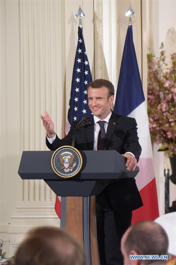 French President Emmanuel Macron speaks at a joint press conference with U.S. President Donald Trump (not in the picture) at the White House in Washington D.C., the United States, April 24, 2018. Macron is on a state visit to the United States from Monday to Wednesday. (Xinhua/Yang Chenglin)<br/>
