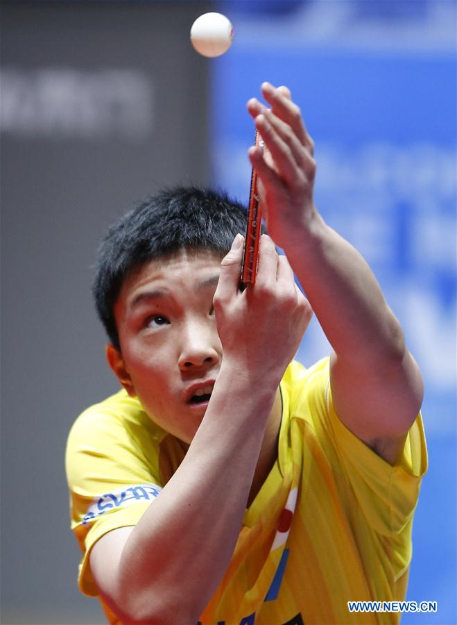Harimoto Tomokazu of Japan serves to Gao Ning of Singapore at the fifth round of Men's group match during the 2018 World Team Table Tennis Championships in Halmstad, Sweden, May 2, 2018. Harimoto won the game with 3-0, and team Japan won the match with 3-0. (Xinhua/Ye Pingfan)<br/>
