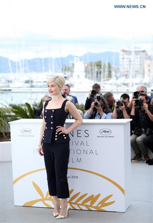 Actress Emilia Clarke of the film &quot;Solo: A Star Wars Story&quot; poses during a photocall at the 71st Cannes International Film Festival in Cannes, France, on May 15, 2018. The 71st Cannes International Film Festival is held from May 8 to May 19. (Xinhua/Luo Huanhuan)<br/>