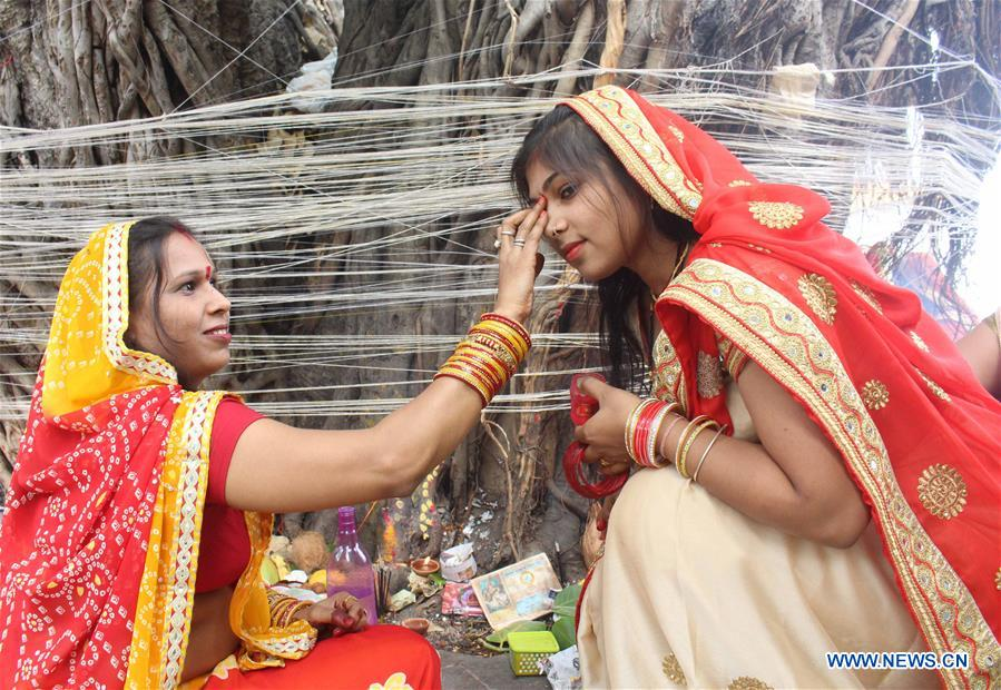Indian Hindu married women perform rituals at Vat Savitri