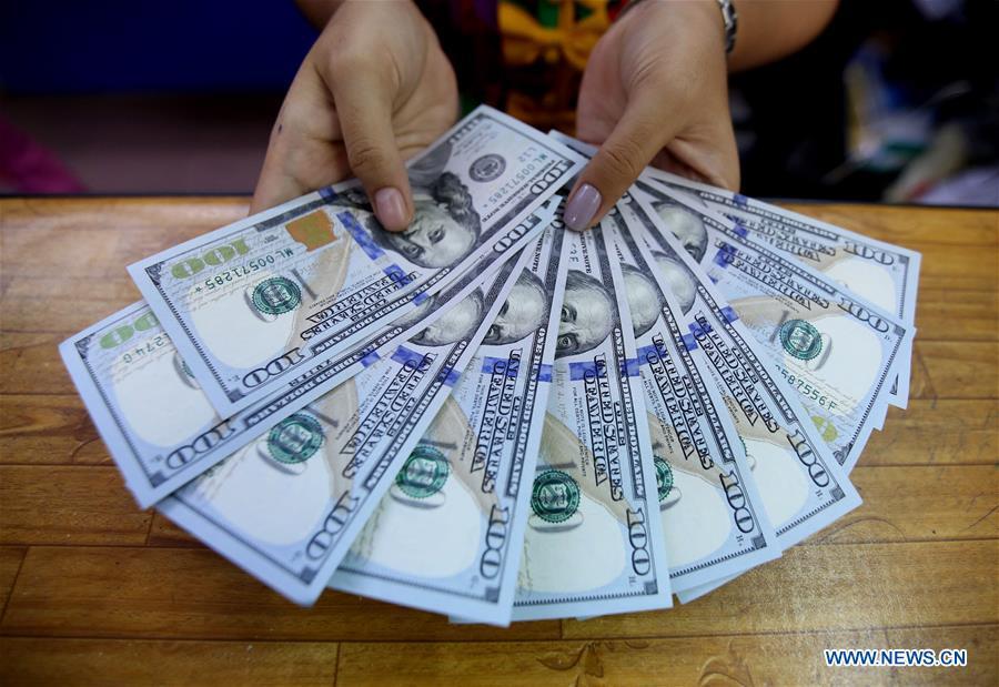 Myanmar Yangon Foreign Currency Exchange Raising A Clerk Shows U S Hundred Dollars