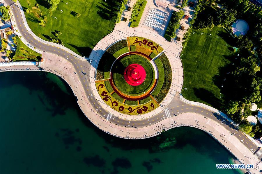 Photo taken on June 1, 2018 shows Wusi Square in Qingdao, east China's Shandong Province. The 18th Shanghai Cooperation Organization (SCO) Summit is scheduled for June 9 to 10 in Qingdao. (Xinhua/Guo Xulei)<br/>