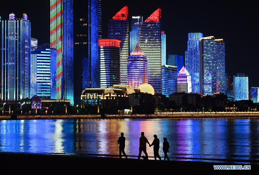Photo taken on May 3, 2018 shows the night view of Fushan Bay in Qingdao, east China's Shandong Province. The 18th Shanghai Cooperation Organization (SCO) Summit is scheduled for June 9 to 10 in Qingdao. (Xinhua/Li Ziheng)<br/>