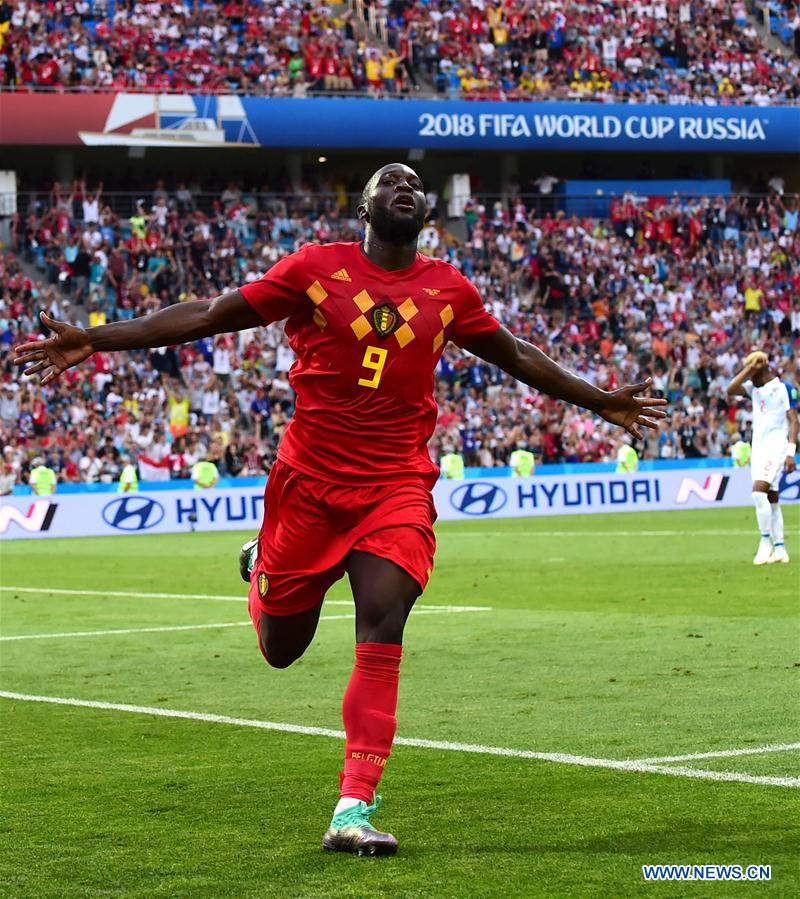 Romelu Lukaku of Belgium celebrates his scoring during a group G match between Belgium and Panama at the 2018 FIFA World Cup in Sochi, Russia, June 18, 2018. (Xinhua/Du Yu)<br/>Three beautifully crafted goals in the second half helped Belgium defeat Panama 3-0 in the opening match of the World Cup Group G actions here on Monday.<br/>Panama staged an encouraging first-half performance on their World Cup debut as they held Belgium's talented team to a 0-0 draw at halftime.<br/>After struggling to find the net before halftime, Belgium needed only two minutes to open the scoring in the second half as Dries Mertens struck home with a superb volley.<br/>Romelu Lukaku hit double in the 69th and 75th minute to increase Belgians' advantage.<br/>Belgium now go top of Group G, with Tunisia playing England later on Monday.<br/>