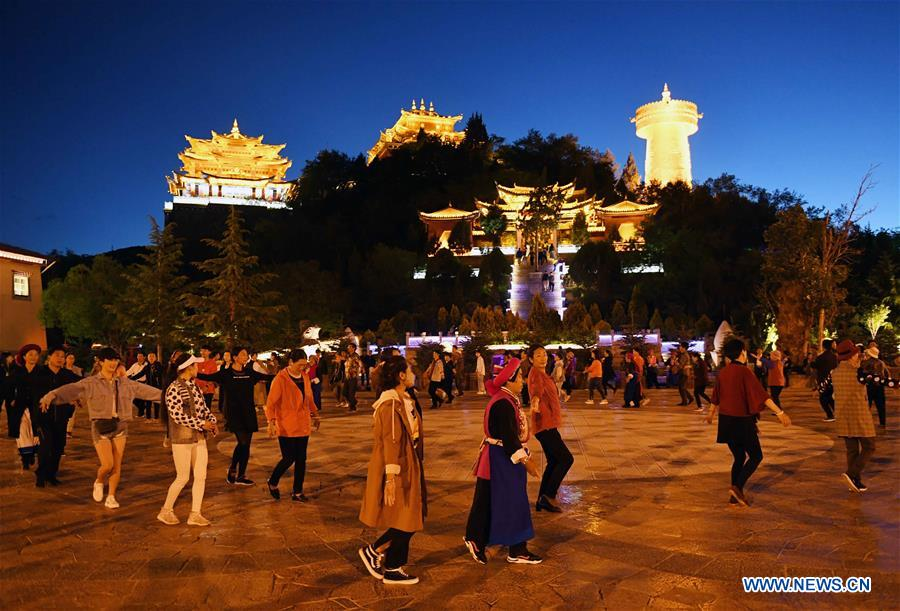 Night scenery of ancient town in Shangri-la, SW China