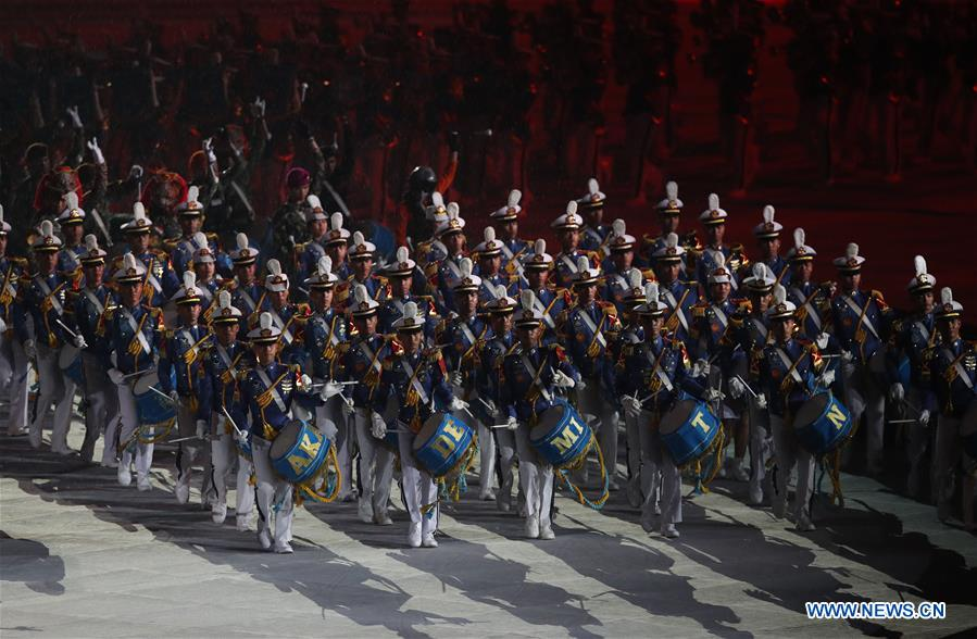 A musical band perform at the closing ceremony of the 18th Asian Games in Gelora Bung Karno (GBK) Main Stadium in Jakarta, Indonesia, Sept. 2, 2018. Image: Xinhua/Ding Ting