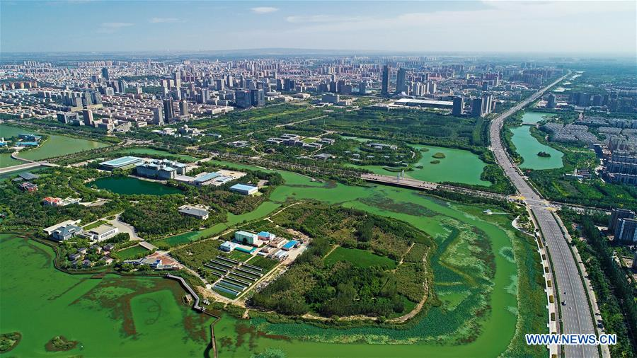 Aerial photo taken on Sept. 3, 2018 shows the Jinfeng District of Yinchuan City, northwest China's Ningxia Hui Autonomous Region. (Xinhua/Wang Peng)<br/>