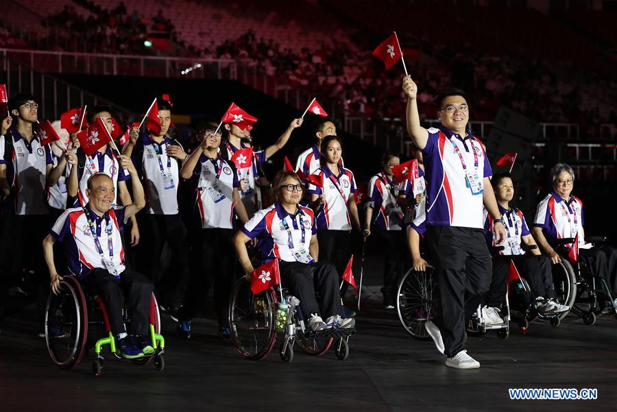 The delegation of China enters the Gelora Bung Karno (GBK) Main Stadium during the opening ceremony of the Asian Para Games 2018 in Jakarta, Indonesia, on Oct. 6, 2018. Image: Xinhua/Wang Dongzhen