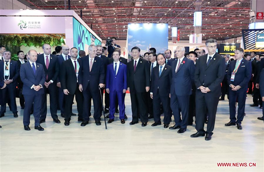 (IMPORT EXPO) CHINA-SHANGHAI-XI JINPING-CIIE-EXHIBITION HALL-TOUR (CN)
