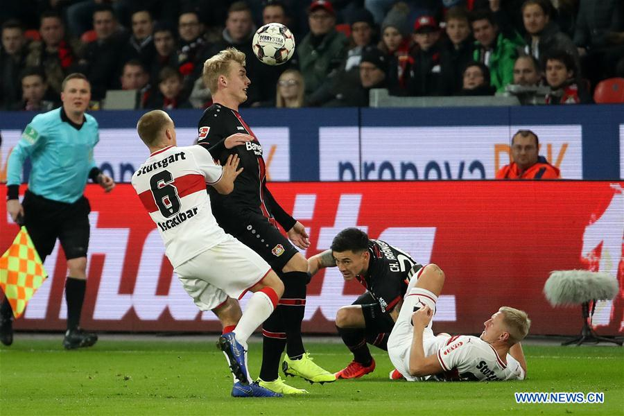 bayer 04 leverkusen beats vfb stuttgart 2 0 during bundesliga
