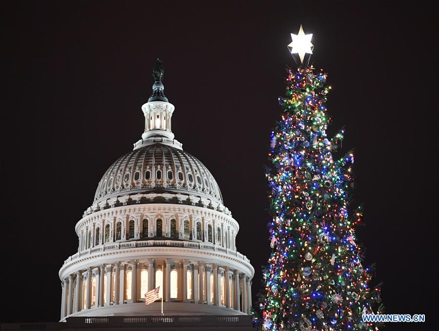 Capitol Christmas Tree.People Attend Capitol Christmas Lighting Ceremony In