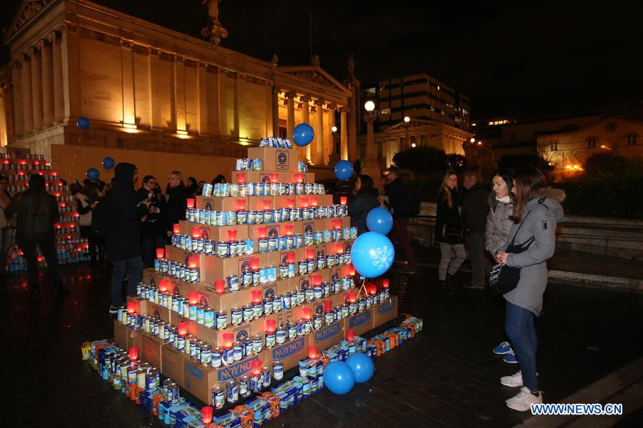 GREECE-ATHENS-MILK CANS-CHRISTMAS TREE