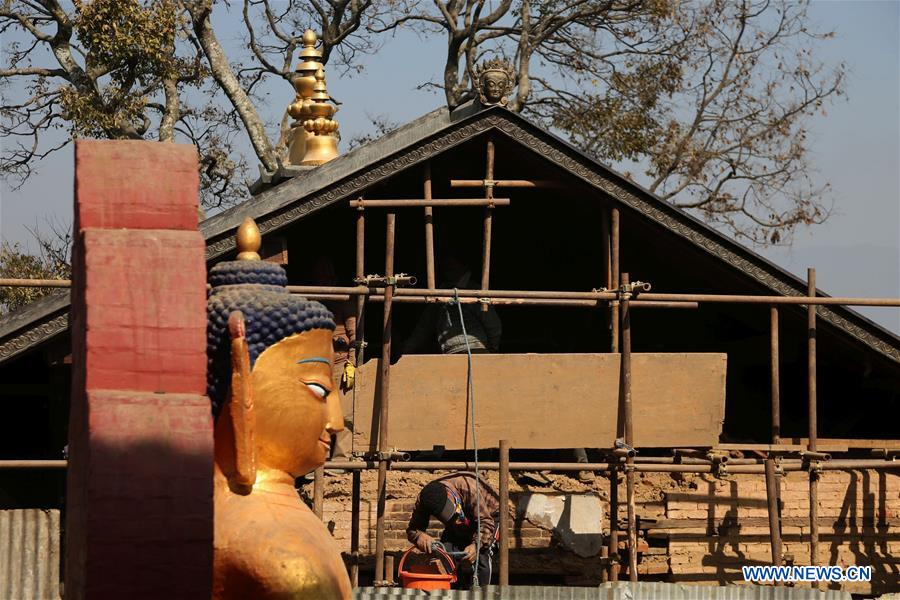 Reconstruction of historical and cultural monuments undergoes in Swayambhunath, Nepal - Xinhua