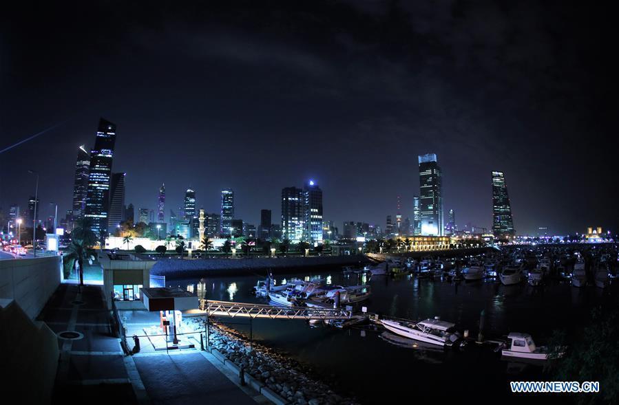 Night view of Kuwait City, capital of Kuwait - Xinhua