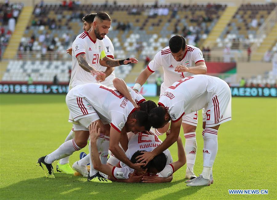 ce6c312b1 (SP)UAE-ABU DHABI-SOCCER-AFC ASIAN CUP 2019-GROUP. Players of Iran  celebrates scoring during the 2019 AFC Asian Cup UAE 2019 group D match  between Vietnam ...