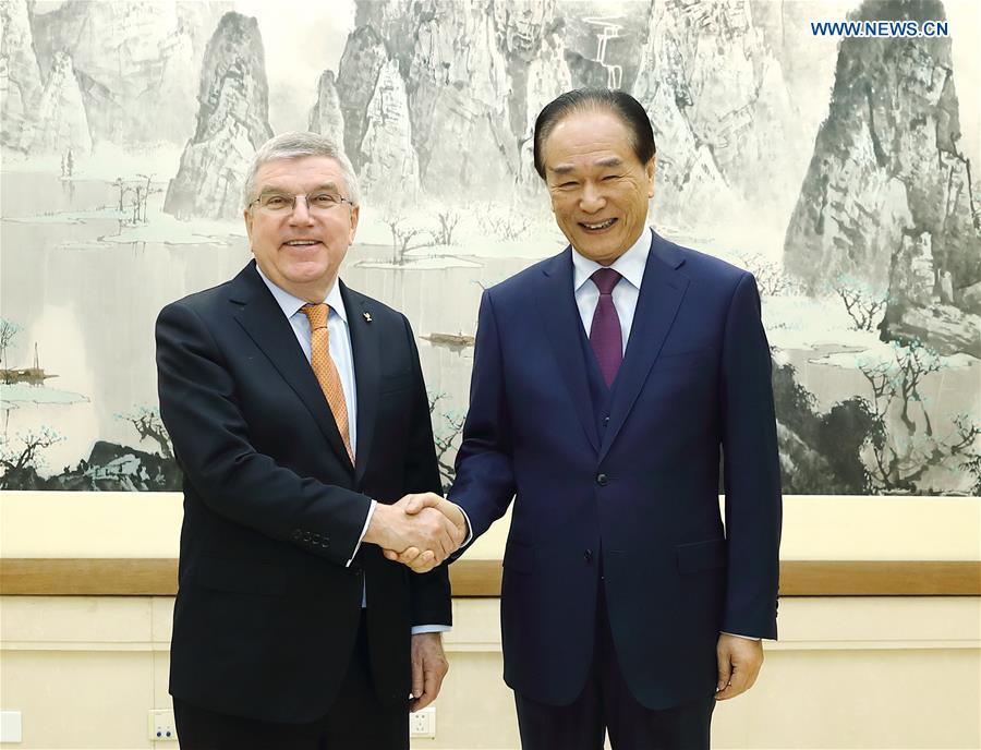 CHINA-BEIJING-CAI MINGZHAO-THOMAS BACH-MEETING (CN)