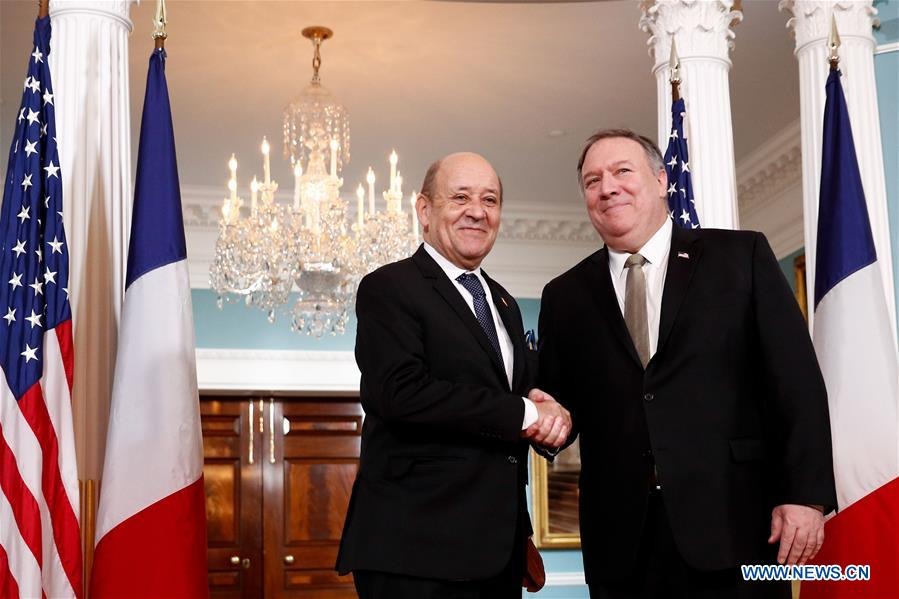 美国 - 华盛顿DC-POMPEO-FRANCE-FM-MEETING