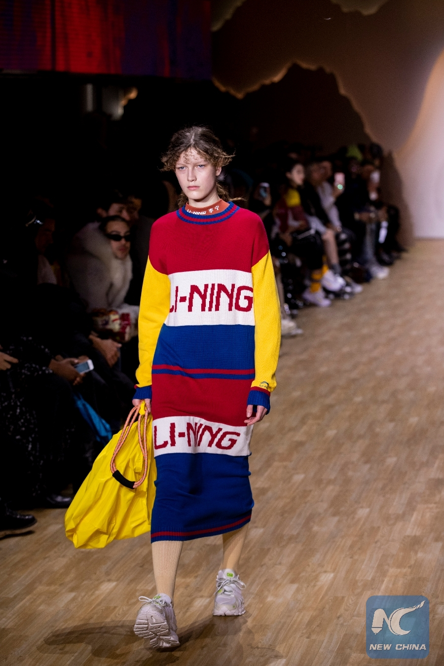 e05b421e9ddc A model presents a creation from the Li-Ning Fall Winter 2019 collection  during the New York Fashion Week in New York