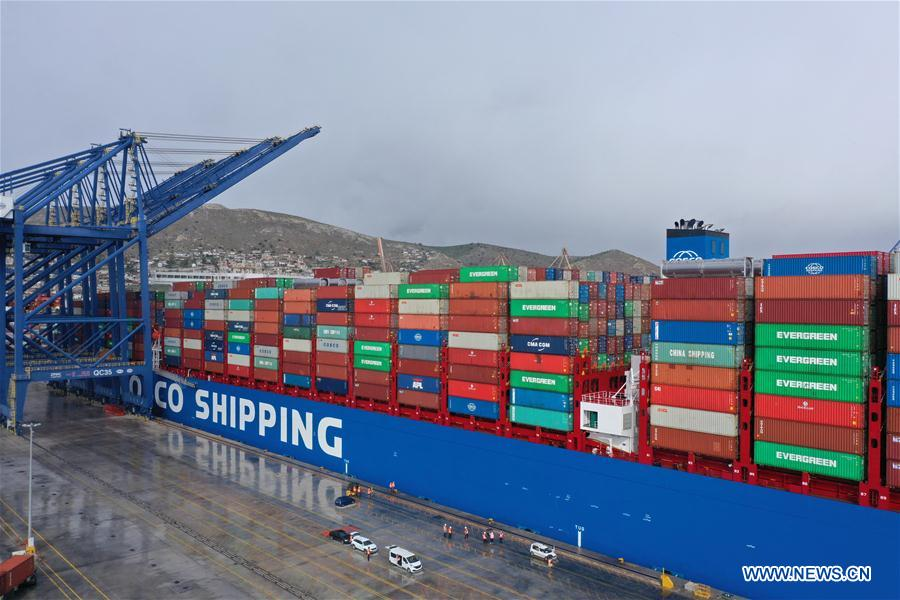 One of world's largest container ships docks at Greece's